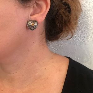 Sterling and 14k gold filagree heart with Citrine